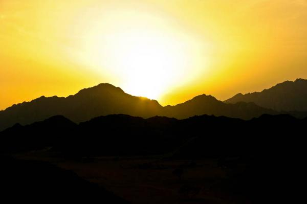 Couché de Soleil sur le désert Egyptien