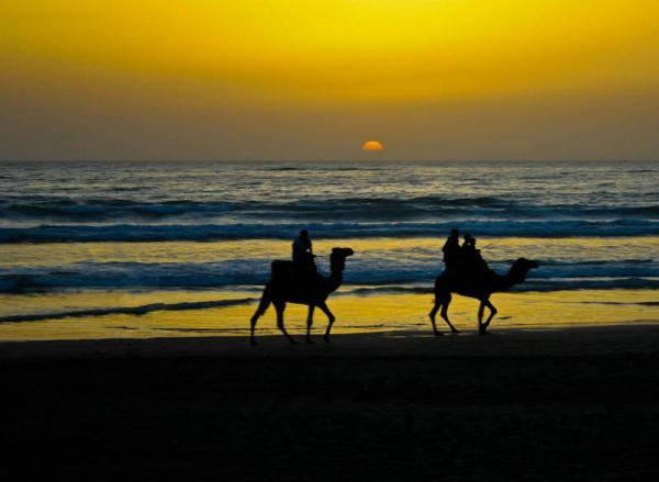 Couché de Soleil sur la plage d'Agadir